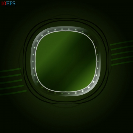 external: Porthole of a plane or ship, external view Abstract illustration