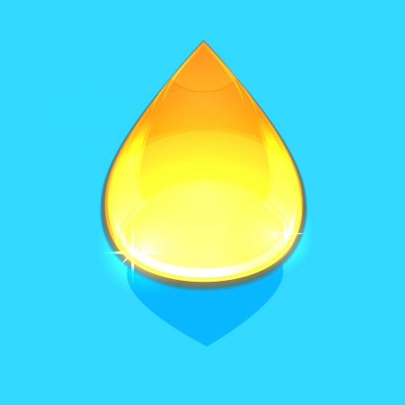 Drop of oil isolated on blue background
