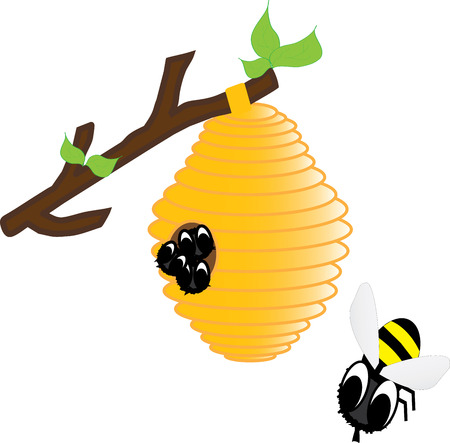 하이브에있는 꿀벌들 일러스트