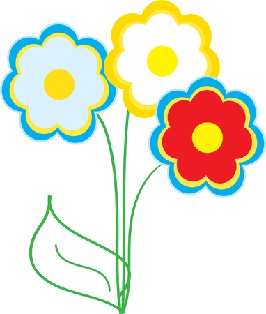 Three bright, colorful flowers on a white background Illustration