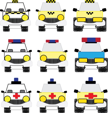 A set of emergency vehicles isolated on a white background. Vector