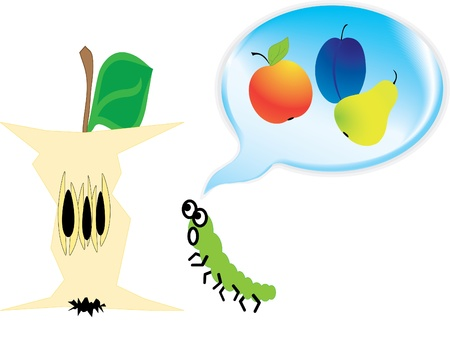 Worm  and apple, thinking only about the food