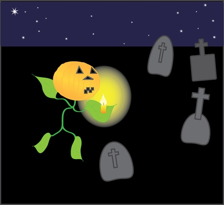 Halloween, starry night at the cemetery Stock Vector - 8286498