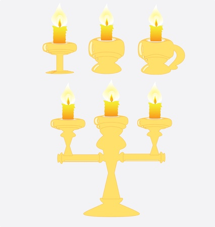 Antique chandelier with candles, in yellow