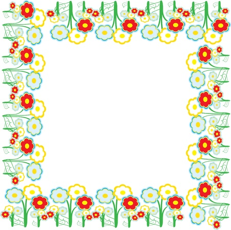 turf flowers: Blooming meadow grass, a lot of bright colors, Illustration