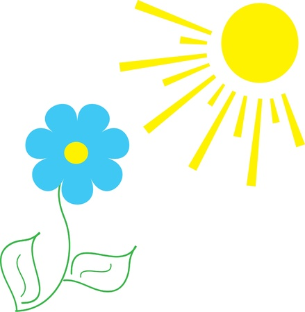 Flower and the sun,   illustration