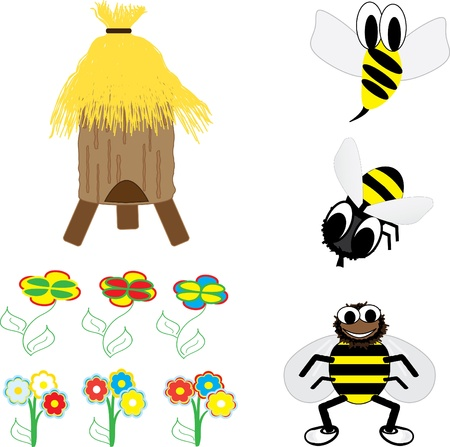 Bees in the hive. Honey Family Vector