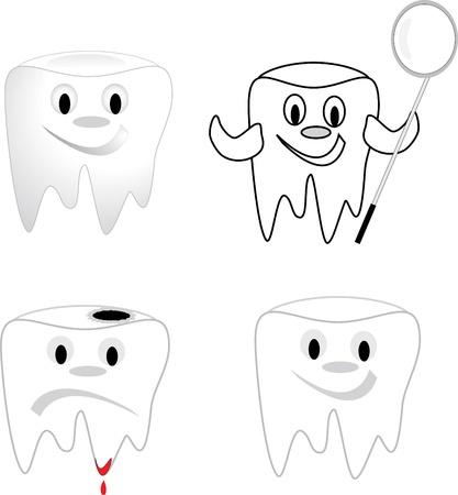 Dente con carie dentali, insoddisfatto del dente