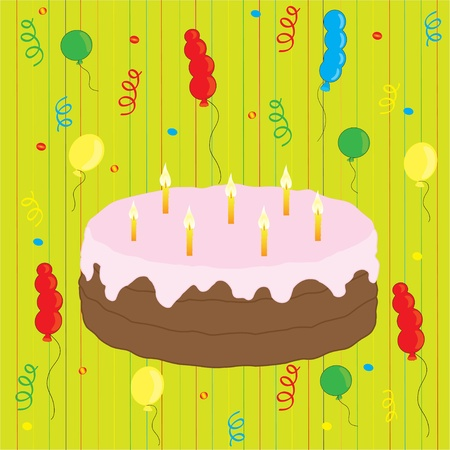 Celebration with cake and many balloons Vector