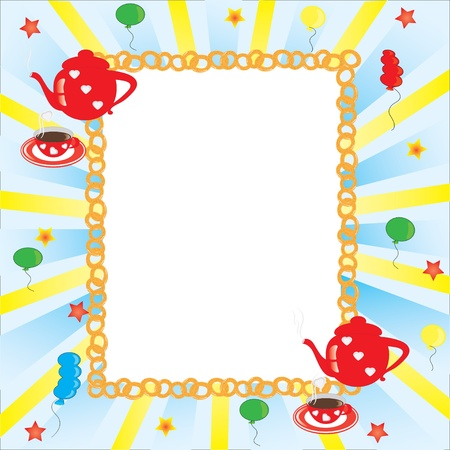 Picture frame, Red coffee pot and cup, many balloons Vector