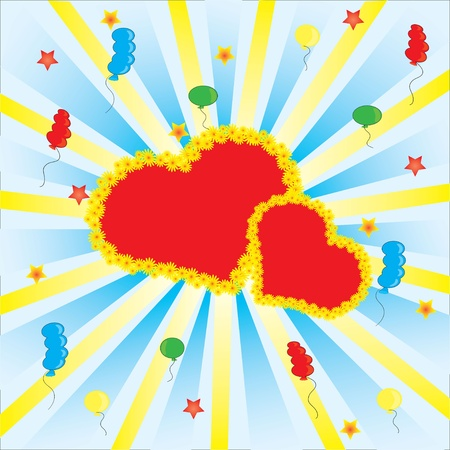 Celebration with heart  and many balloons Vector