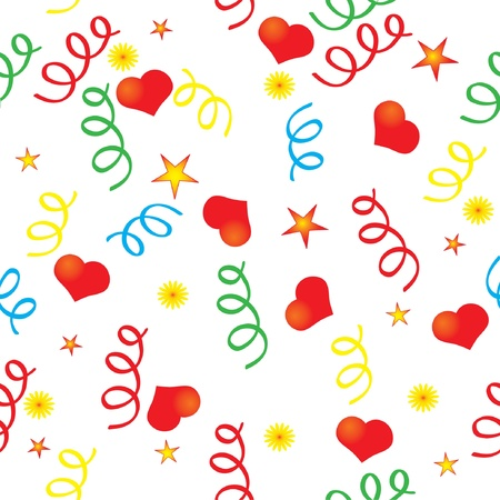 Confetti and the heart background Vector