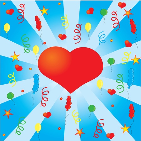 Confetti and the  red heart, background Vector