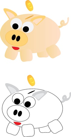 Piggy bank, isolated on a white background