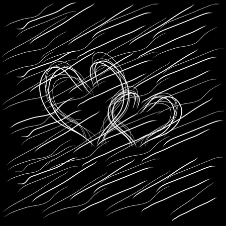 two hearts together: Two hearts on a black background  , Vector