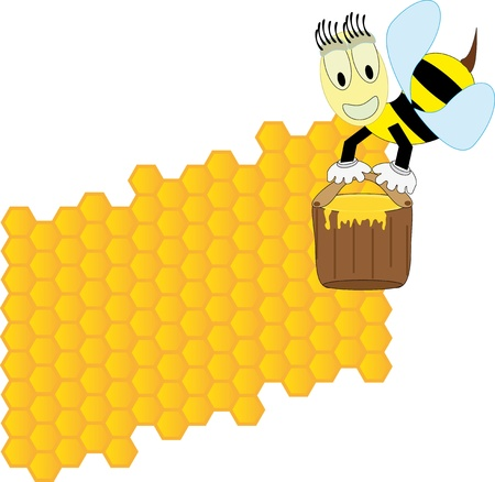 Bees and honeycomb Stock Vector - 9864564