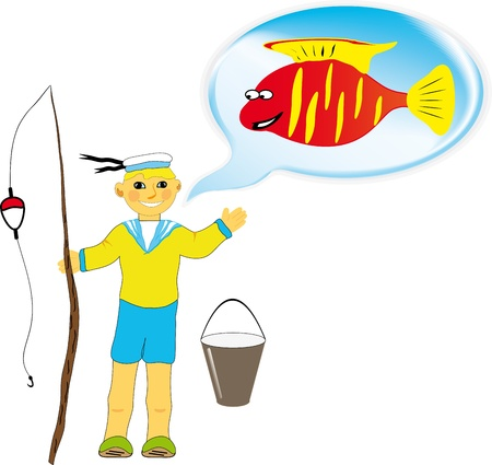 Boy fishing, white background Vector
