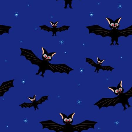 Bat in a dark blue sky Illustration