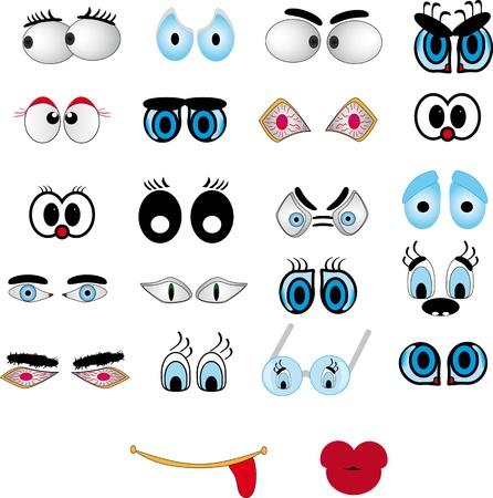 ojos anime: Labios de dibujos animados, conjunto de ojo