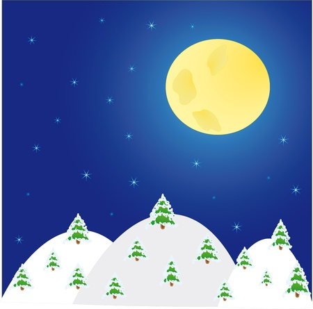 spruse: night winter landscape with  trees and  moon