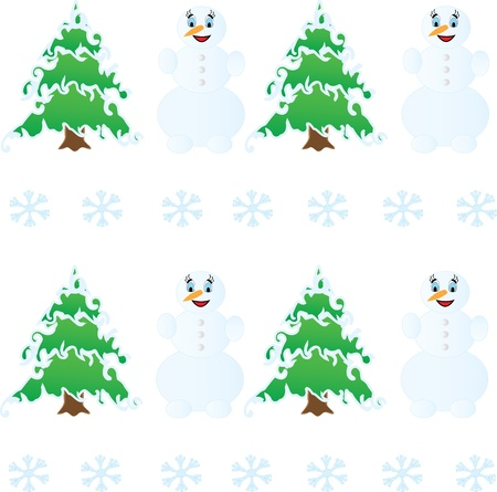 Winter Christmas seamless pattern  and snowman