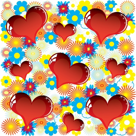 Valentine love card with heart of flowers Stock Vector - 12076237
