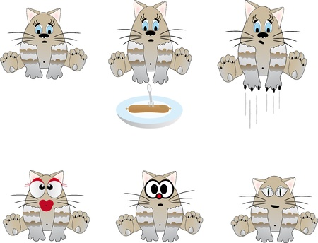 Funny cats  Vector illustration Vector
