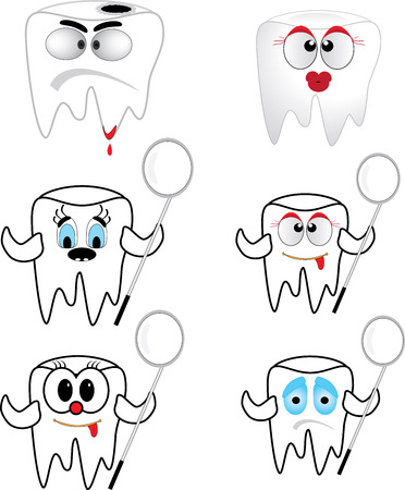 Tooth collection  on white background - vector illustration. Illustration