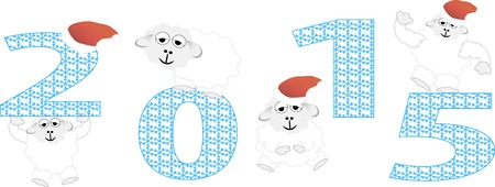2015 new year card with white sheep.  Illustration