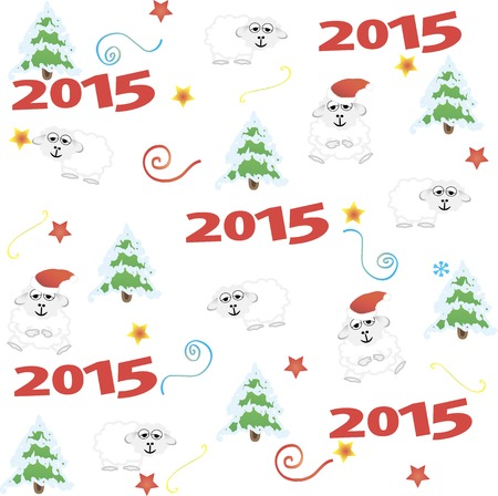 2015 new year card with white sheep. vector illustration Illustration
