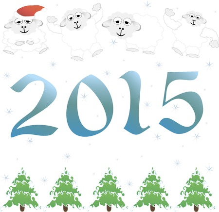 2015 new year card with white lamb. vector illustration