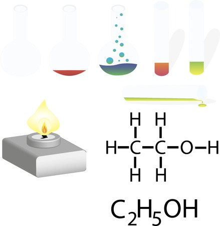 Chemistry Laboratory Infographic. Experiment in a chemistry lab. Vector illustration
