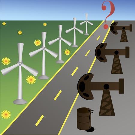diminishing view: pump and wind turbine on sunset background.  Vector illustration. Illustration