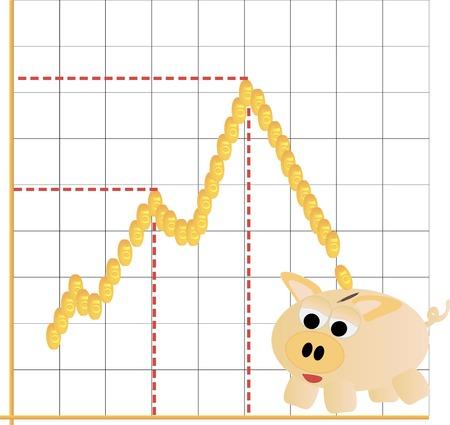 metafoor: Spaarpot spaarpot met zakelijke financiële grafiek metafoor, whit Stock Illustratie