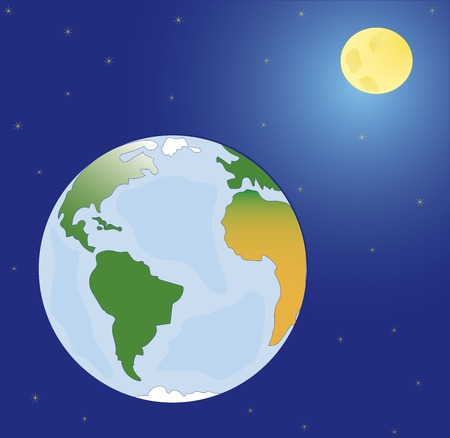 mother earth: Vector, space planets mother Earth, moon and stars