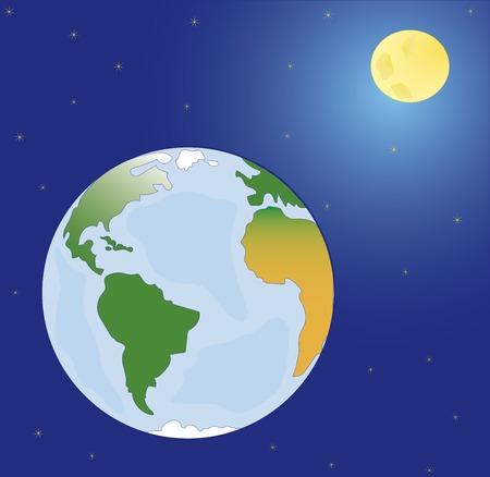 madre terra: Vector, spazio pianeti madre terra, la luna e le stelle Vettoriali