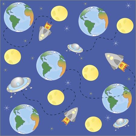 madre tierra: Vector, el espacio planetas madre tierra, la luna y las estrellas