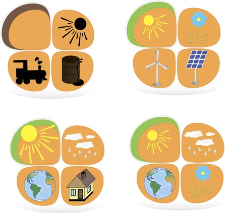 panels: Set of flat design concepts - green energy. Solar panels, windmill, battery
