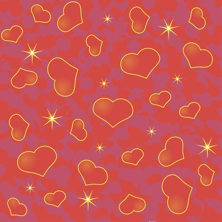 Abstract Valentines day background with many red hearts on  red phone