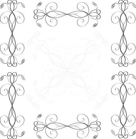 Vector vintage border  frame engraving  with retro ornament  rococo style decorative design