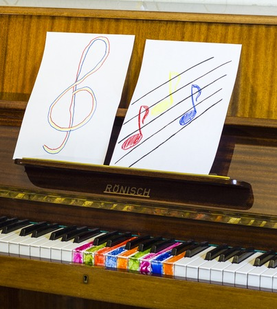 Piano keys cheerful and colorful notes, foto.