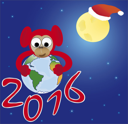 Red monkey embraces the world, the symbol of 2016, New Year card Illustration