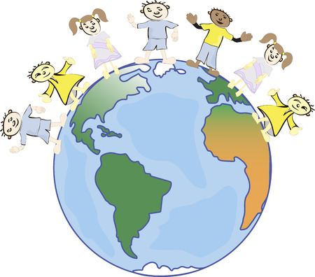 diversidad cultural: los niños multiculturales en el planeta tierra, la diversidad cultural, trajes típicos tradicionales. La tierra es mi amigo. Grupo de niños de todo el mundo.