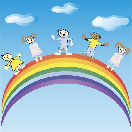 rainbow slide: Children ride on a rainbow.