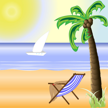 illustration of beach with sand and palm trees in shiny day Illustration