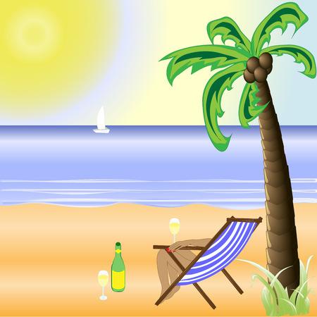 光沢のある日にビーチで砂とヤシの木のイラスト