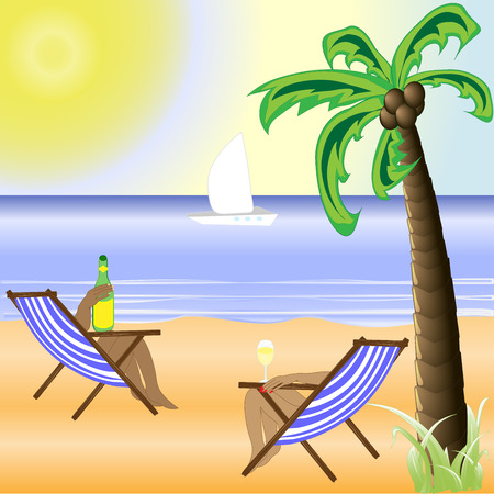 maldives island: illustration of beach with sand and palm trees in shiny day Illustration