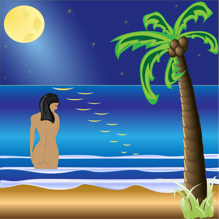 Moonlight beach. Summer holidays background. Sea, starry night sky, moon and moonlight, palm leaves and glare on the water.