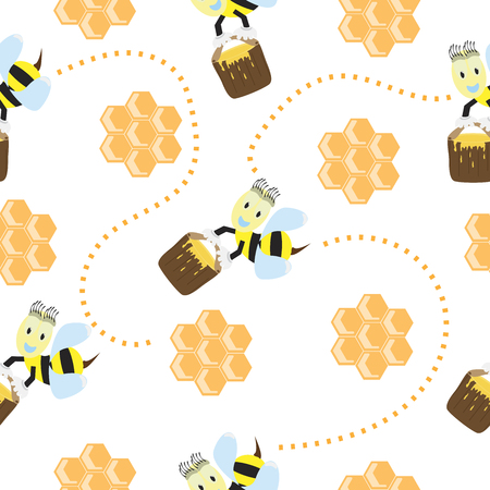 captivated: Seamless pattern with cute bees and honeycomb Illustration