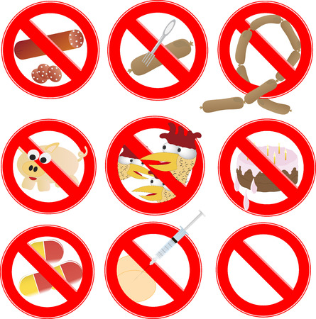 prohibiting: No Fast Food, Prohibition Sign. Label. prohibiting signs